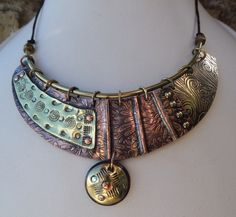 Susan Corry Designs Etched copper and brass necklace