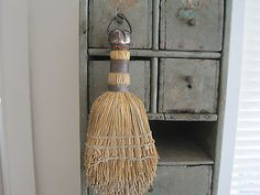 Old-Primitive-Small-Whisk-Broom-with-a-Metal-Hanger-Perfect-Peg-Rack-Hanger