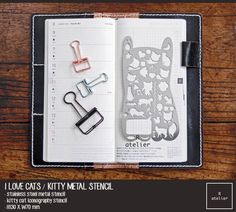 $12 | Kitty Cat Iconography Metal Stencil Ruler #Stencils #Journaling #Stationery #Planner #PlannerLove #PlannerAddicts #PlannerCommunity #JournalLove #BespokeLeather #Gifts #GiftForHer #ILoveCats #FelineFriends #CatLovers