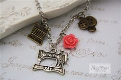 Sewing Machine Necklace Vintage Silver Button Love Sew Handcrafter Rose Flower…