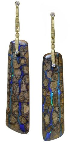 "Very long Alex Sepkus ""Sticks & Stones"" earrings, 18KY, Matrix Boulder Opal from Southern Australia = 98.82 ctw, Diamonds = .17 ctw (fabulous and one of a kind!)"