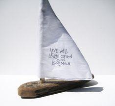 Wooden Sailboat Driftwood Art