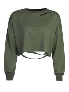 See this and similar WithChic sweatshirts - Military Green Ripped Drop Shoulder Cropped Sweatshirt COLOR: Green Long Sleeve Shirt, Long Sleeve Crop Top, Green Shirt, Green Crop Top, Olive Green Top, Green Tops, Outfit Essentials, Crop Top Sweater, Crop Shirt