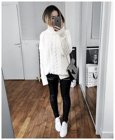 """Audrey auf Instagram: """"Doudou ❤️ • Knit #aninebing (from @aninebing, boutique ouverte à Paris ) • Leather Pant #eponymcreation (on @meleponym) • Sneakers #nationalstandardxaudreylombard (available March 19th on @nationalstandard) ..."""""""