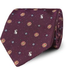 Paul Smith Shoes & Accessories - Rabbit and Flower-Embroidered Silk Tie|MR PORTER