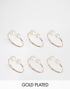 ASOS Rose Gold Plated & Brass Open Faux Pearl Rings