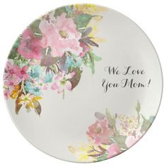 Mother's Day Gift Floral Personalized Dinner Plate