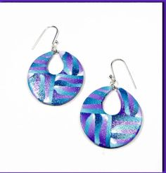 Purple Teal Hoop Earrings handmade jewelry Polymer by BeadazzleMe Christmas Gifts #fashion #jewelry