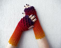 RESERVED for Nicola Fingerless mittens - Rainbow multicolored spring Accessories