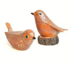 ceramic lovebirds by ecorock on Etsy