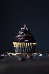 The chocolate in these cupcakes is enhanced by freshly brewed coffee and flaked sea salt. So rich and fudgy, yet not too sweet!