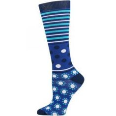 Blue Watercolor Flowers 8-15 mmHg Graduated Compression Sock