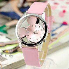 relogio feminino 2017Fashion Mickey Women Watches quartz casual transparent hollow dial leather wristwatches women dress watch #Affiliate