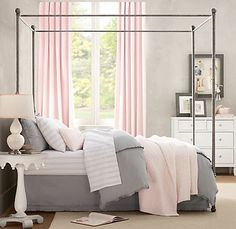 grey and light pink bedroom -- would be great using dusky lavender instead of pink...love the layered look + stripes