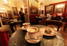 Antico Caffe Greco on the Via Condotti is a lovely café with a rich, warm environment: antique furnishings and portraits of the literary luminaries who frequented it like Lord Byron and Goethe. It was built in 1760. ( ~ an   expat in Rome ~ )