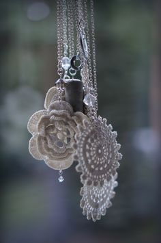 Silver, old lace, concrete and chrystals