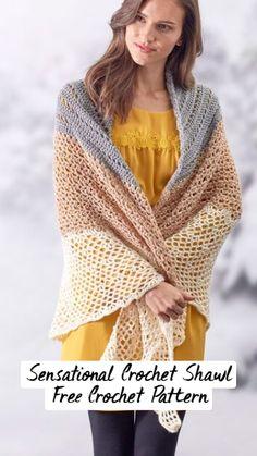Crochet Shawl Free, Gilet Crochet, Crochet Scarfs, Quick Crochet, Chrochet, Knit Or Crochet, Crochet Clothes, Crochet Hooks, Crochet Designs