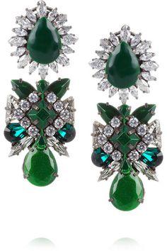 SHOUROUK Blondie silver-plated Swarovski crystal earrings