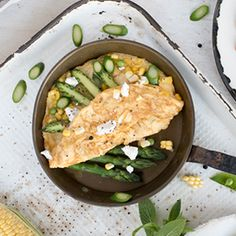 Recipe share: Free range omelette with corn goats cheese and asparagus