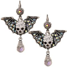 Bat Wing Skull Leverback Earrings (Antique Silvertone)