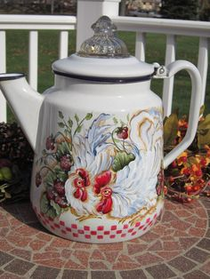 Vintage Enamel Coffee Tea Pot Rooster by FrenchCountryRooster, $50.00