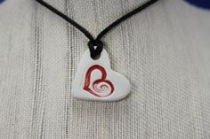 Natural Clay Diffuser Necklace, Pendant- Small heart with red heart
