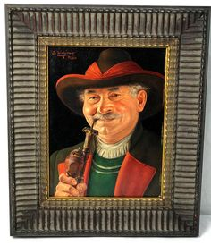 OTTO EICHINGER Oil Painting TYROLEAN-BAVARIAN MAN w/ PIPE Austrian Listed Artist | eBay