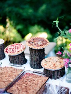 rustic wedding pie dessert buffet with log stands   photo: www.tanjalippertphotography.com
