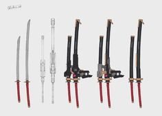 Ninja Weapons, Anime Weapons, Sci Fi Weapons, Armor Concept, Weapon Concept Art, Fantasy Weapons, Armes Futures, Cyberpunk Rpg, Anime Lock Screen