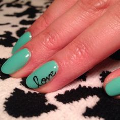 nice green with love , Nails