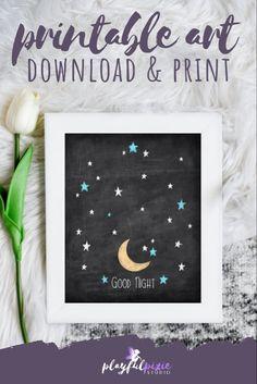 Star Nursery, Nursery Decor, Printable Art, Printables, Chalkboard Art, Good Night, Pixie, Room Ideas, Invitations