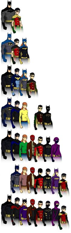 Batman, his Robins, and his Batgirls over the generations featuring: Bruce Wayne (as Batman) Dick Grayson (as Robin, Nightwing, and Batman) Barbara Gordon (as Batgirl and Oracle) Jason Todd (as Rob...