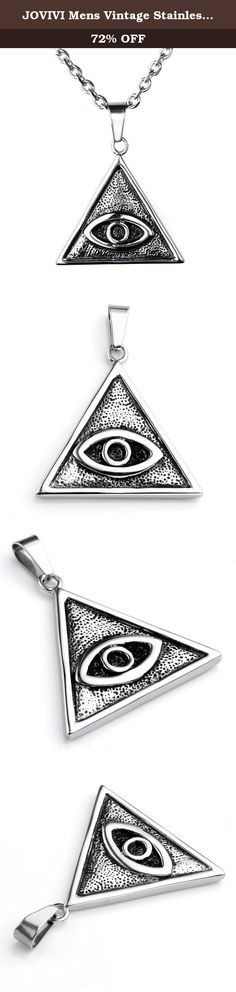 JOVIVI Mens Vintage Stainless Steel Eye Of Providence pendant All Seeing Eye Necklace, Silver Black Color, 24 inch Chain. *Thank you for visiting JOVIVI Store. We are specializing in jewelry making beads and findings. *If you like this product, we advise you add it to wish list now, so that we will inform you immediately once it has a discount. *And you can click our brand name which on the top of the title; you can find more jewelry making beads with high quality and reasonable price…