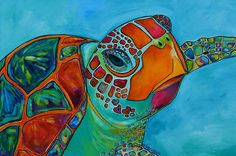 Seaglass Sea Turtle Painting  - Seaglass Sea Turtle Fine Art Print