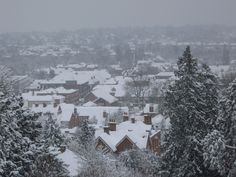 Overlooking Farnham Town. Snow at Farnham Castle. Perfect for a #winter #wedding.