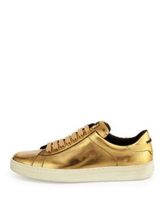 X2LNA Tom Ford Mirror Leather TF Low-Top Sneaker, Gold