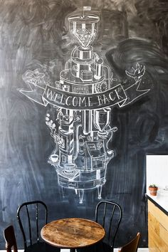Heath Robinson coffee machine drawing on a floor-to-ceiling chalkboard | Astro Coffee, Detroit