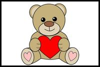... step-by-step instructions on how to draw a Valentines Day teddy bear