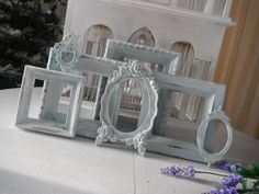 shabby chic picture frames seafoam green antiqued country cottage charm nursery decor french country OOAK rustic home open photo frames