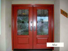 Classic Style PlastPro Fiberglass Double Entry Doors model DRG29 with Spring Glass. Installed at Claremont, CA home