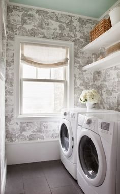 once.daily.chic: Wallpaper in the Laundry