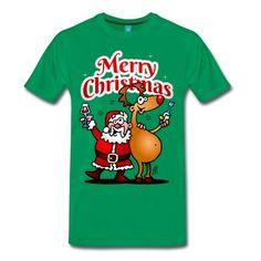 Merry Christmas - Santa Claus and his reindeer T-Shirt. #Cardvibes #Tekenaartje #Christmas #Santa #Reindeer #SOLD