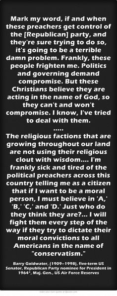 Barry Goldwater on religious conservatism  politics