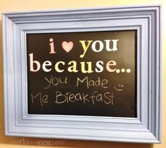 Old Frame + Chalkboard Vinyl = fun way to express love! Chalkboard Frame tutorial - cute wedding present?