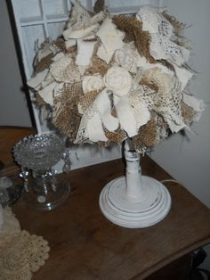 Shabby Chic Lamp Shade Rags Linen Lace Burlap by TinkerMelz, $20.00 sold