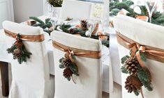 collage tafel dekken voor kerst koper wit