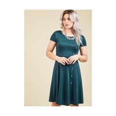 Mid-length Short Sleeves A-line At-Home Entertainer A-Line Dress ($65) ❤ liked on Polyvore featuring dresses, apparel, fashion dress, green, blue a line dress, blue dress, blue party dress, knit dress and green short sleeve dress