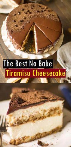 The Best No Bake Tiramisu Cheesecake - SundayRecipes Coffee Cheesecake, Best Cheesecake, Easy Cheesecake Recipes, Easy Recipes, No Bake Cheesecake Filling, Trifle Recipe, Best Tiramisu Recipe, Tiramisu Trifle, Pastries