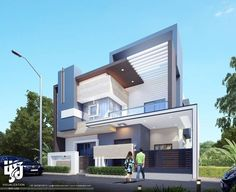 Modern home design 3 Storey House Design, House Front Design, Modern House Design, Morden House, Indian House Plans, Bungalow Exterior, Archi Design, Modern Mansion, House Elevation