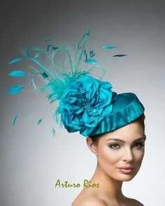 Teal pillbox Headpiece Teal fascinators cocktail hat by ArturoRios